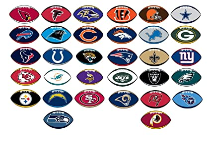 7497a88c NFL Licensed Stickers Football Shape Complete Set of all 32 Teams