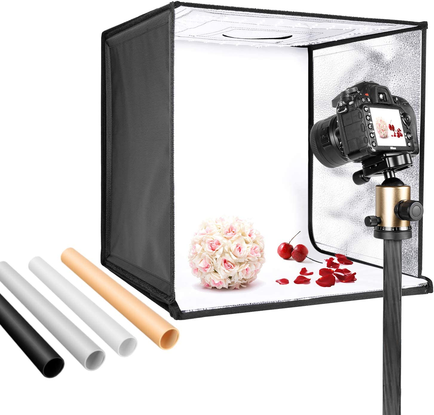 Neewer Photo Studio Light Box 16inches/40cm Shooting Light Tent Adjustable Brightness Foldable Portable Professional Booth Table Top Photography Lighting Kit 120 LED Lights 4 Colors Backdrops