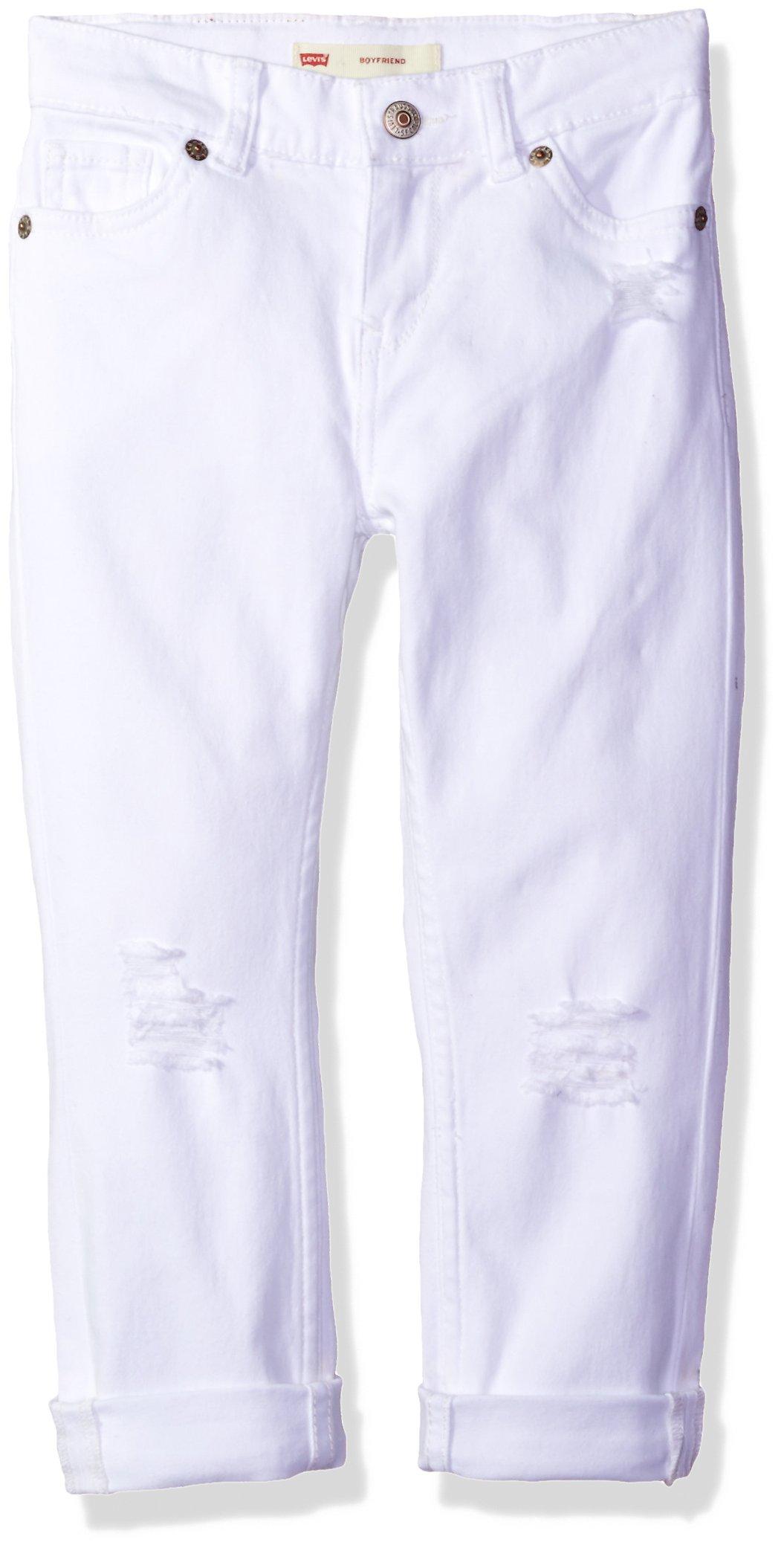 Levi's Little Girls' Distressed Boyfriend Fit Jeans, White with Destruction, 6X