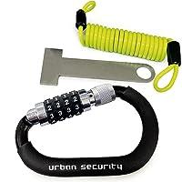 urban UR140 Candado Moto Kit Mosquetón con Código Seguridad Combinación Antirrobo Bloqueo + Cable de Acero Flexible…