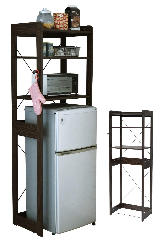 JKプラン 木製 冷蔵庫ラック 冷蔵庫の上に電子レンジ 幅60 cm 冷蔵庫上収納 レンジ台フック付き トースターラック ゴミ箱収納キッチン収納 ブラウン TSKKS00013BR B07BN9CYQBブラウン
