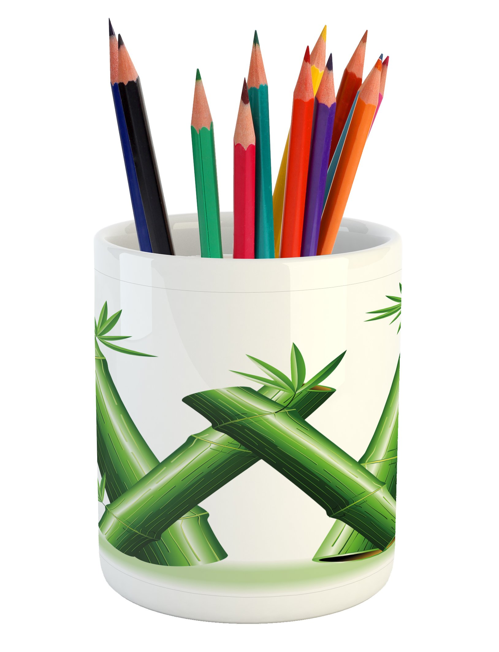 Ambesonne Letter W Pencil Pen Holder, Bamboo Branches Forming Letter W Zen Spa Themed Alphabet Typeset Green Leaves, Printed Ceramic Pencil Pen Holder for Desk Office Accessory, Green White