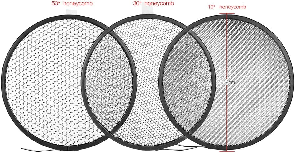 RuleaxAsi 7 Standard Reflector Diffuser Lamp Shade Dish with 10/° 30/° 50/° Honeycomb Grid for Bowens Mount Studio Strobe Flash Light Speedlite