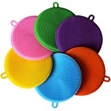 ALINK 6 Pack Silicone Dish Sponge Washing Brush Scrubber Household Cleaning Sponges, Antibacterial Mildew Brushes