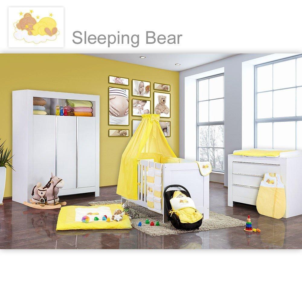 Babyzimmer Felix in weiss 19 tlg. mit 3 türigem Kl + Sleeping Bear in gelb