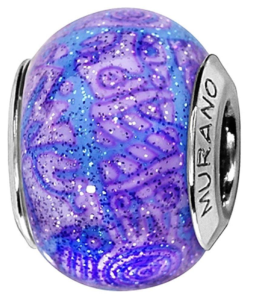 C05198 Bleu et violet Charm Femme Argent rhodi/é et Verre de Murano Thabora