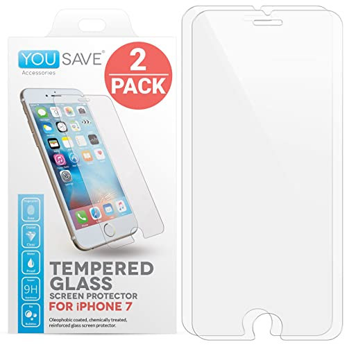 iPhone 7 Screen Protector, iPhone 8 Screen Protector [2 Pack], by Yousave Accessories [Tempered Glass] [3D Touch Compatible] 0.3mm Thickness / 9H Hardness Rating, Perfect Fit For iPhone 8 (2017) and iPhone 7 (2016)