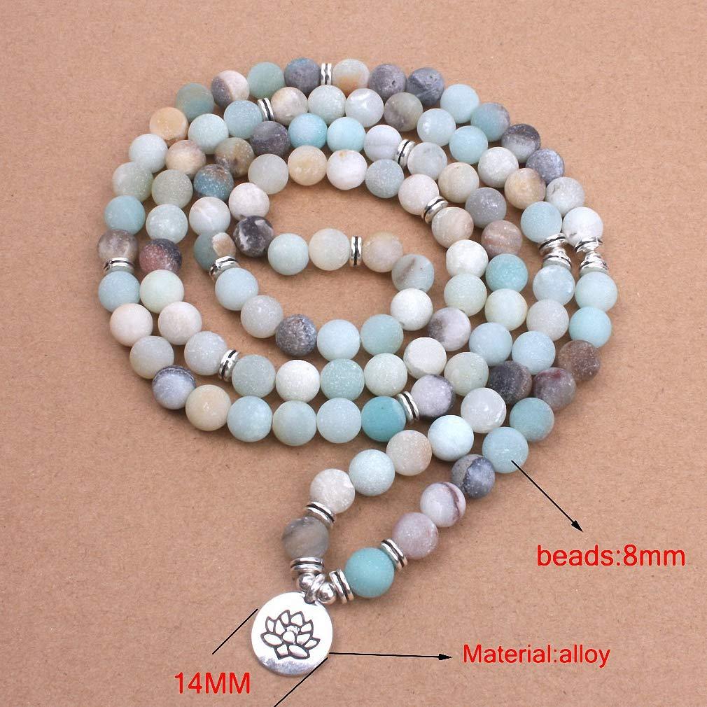 Womens Fashion Womens Bracelet Matte Frosted ite Beads with Lotus Om Buddha Charm Yoga Bracelet 108 Mala Necklace