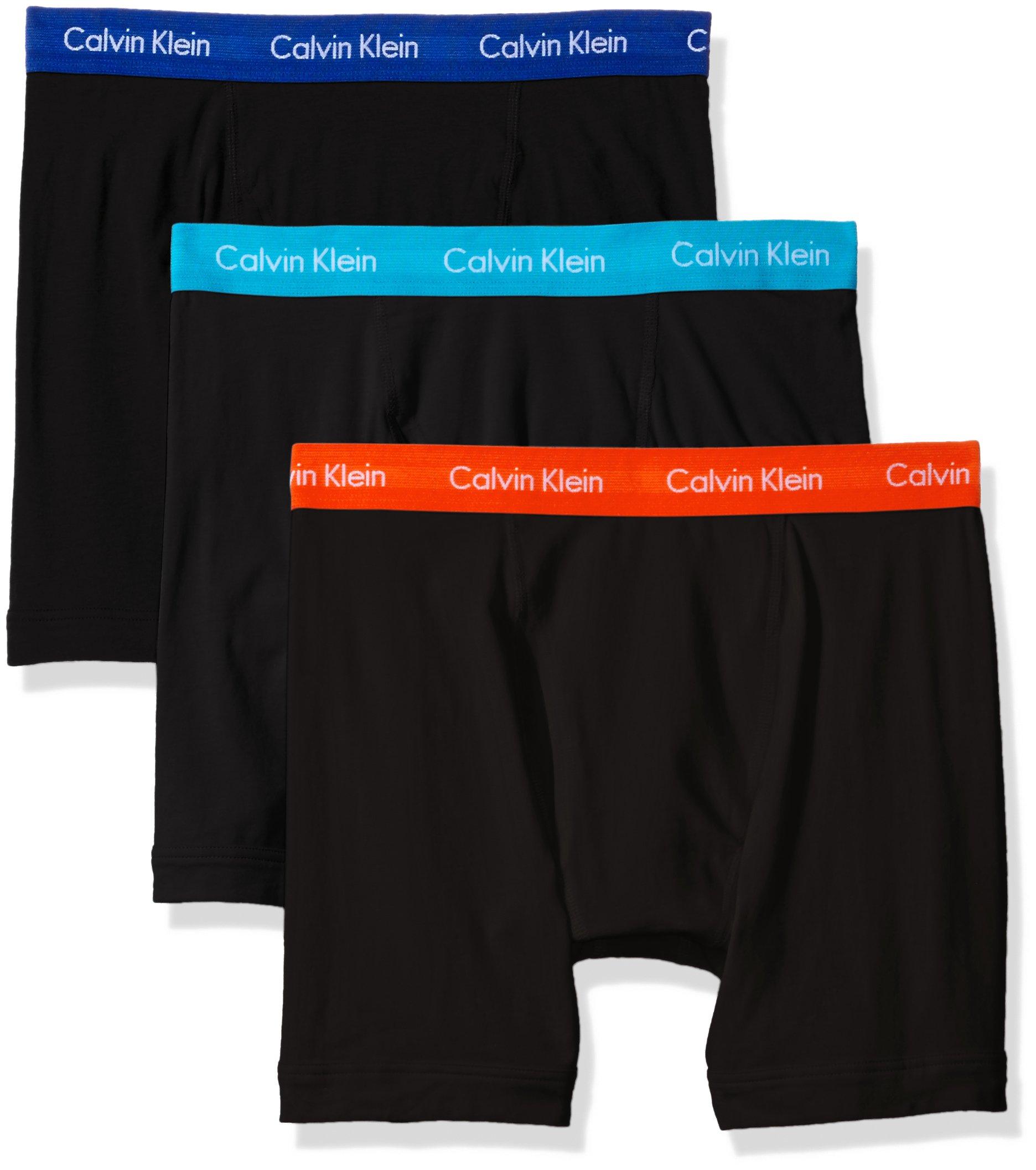 Calvin Klein Men's Cotton Stretch Boxer Briefs, Black/Prussian/Orange Rouge/Paradise, Large
