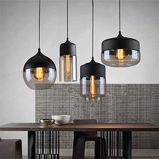 combination modern pendant light fixtures. Ferand Modern Glass Chandelier Ceiling Lamp Pendant Light Loft Coffee Bar Deco Fixture, Black, Combination Fixtures