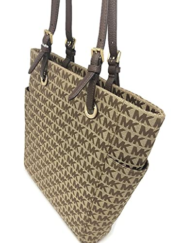 cec37b639952 Amazon.com  Michael Kors Jet Set Signature Medium Tote Bag Side Pockets  Handbag Beige Ebony Java  Shoes