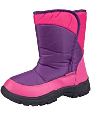 Mountain Warehouse Caribou Single Stripe Kids Snow Boots - Snowproof Shoes, Insulated Walking Boots, Warm, Sherpa Fleece Lining, High Traction Sole - for Winter