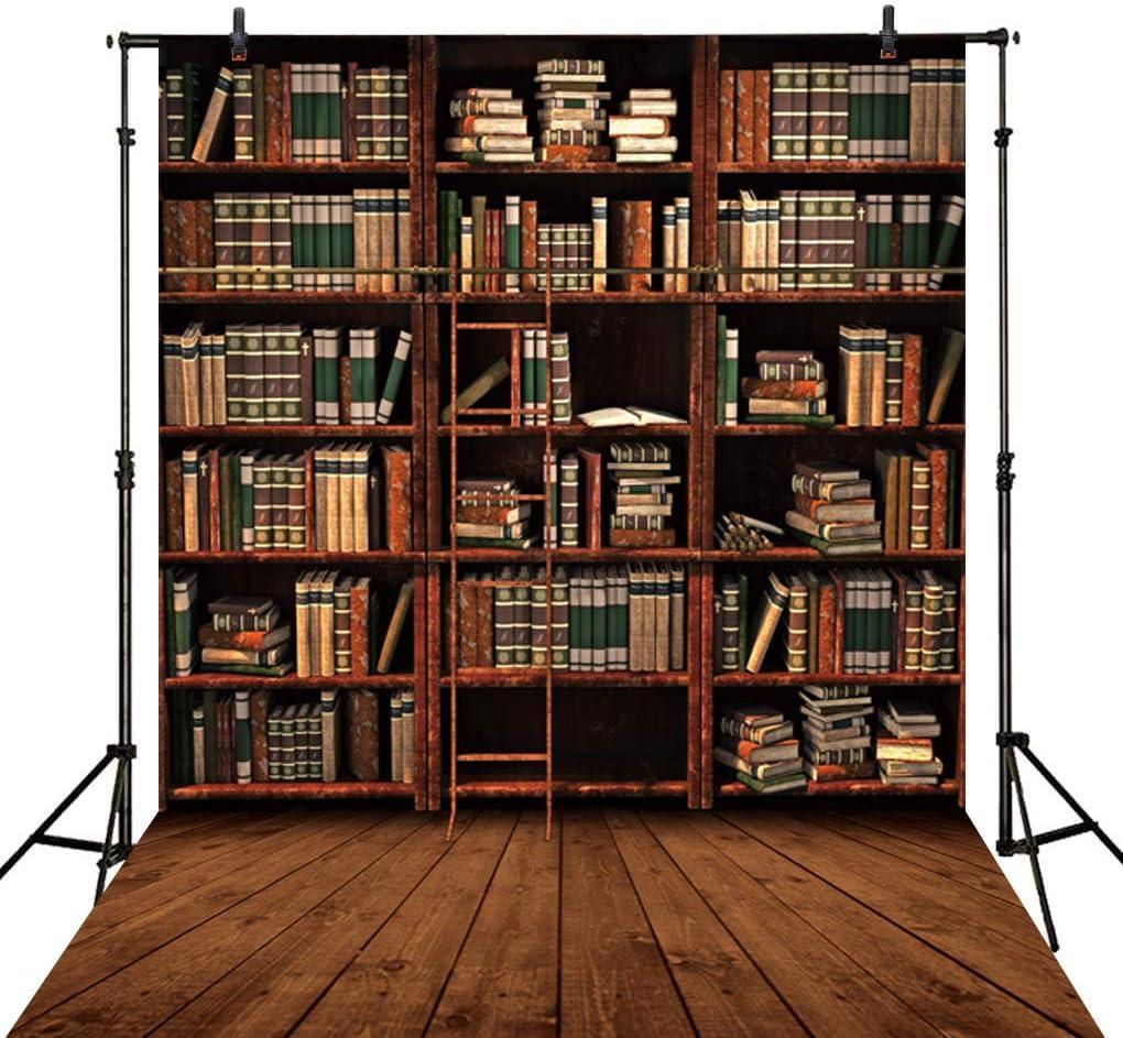 Allenjoy 5X7FT Bookshelf Wood Floor Photography Backdrop Retro Library Vintage Bookcase Ladder Magic Books Office Online Teaching Background PhotoCall Photo Studio Shoot Props Wall Decor