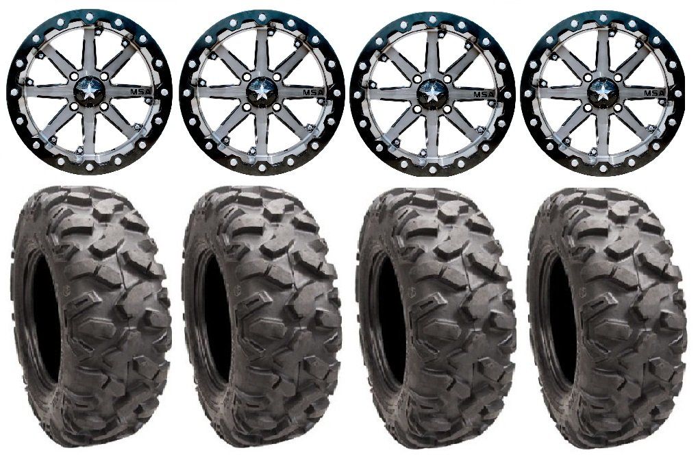 Bundle - 9 Items: MSA Lok 14'' ATV Wheels 30'' Roctane Tires [4x110 Bolt Pattern 10mmx1.25 Lug Kit] by Powersports Bundle (Image #1)