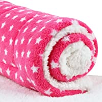 Enzhe Pet Lovely Design Superweiches Fleece Pet Bett Decken Welpen Hund Katze Kissen Matten (L: 70 * 55 cm, Rosa Stern)