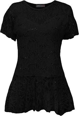 db1bb17b9276b4 Womens Short Sleeve Plus Size Floral Pattern Lace Peplum Frill Flared Top  Tunic-Black-