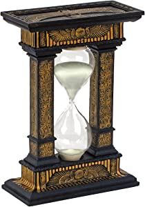 Design Toscano WU75601 Time Egyptian Decor Statue Hourglass Sand Timer, 7 Inch, Two Tone Black & Gold