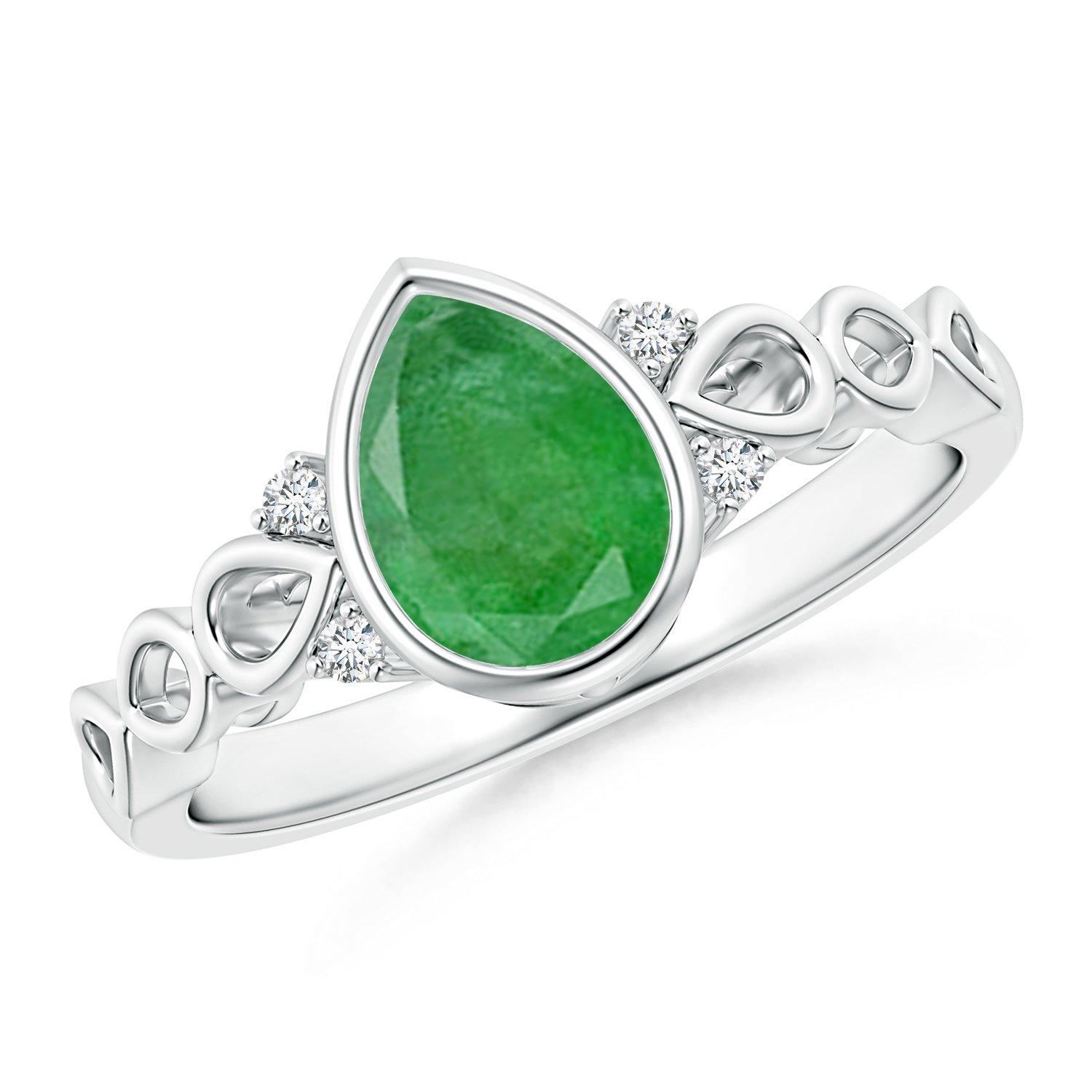 May Birthstone - Bezel Set Vintage Pear Emerald Ring for Women with Diamond Accents in 14K White Gold (8x6mm Emerald)