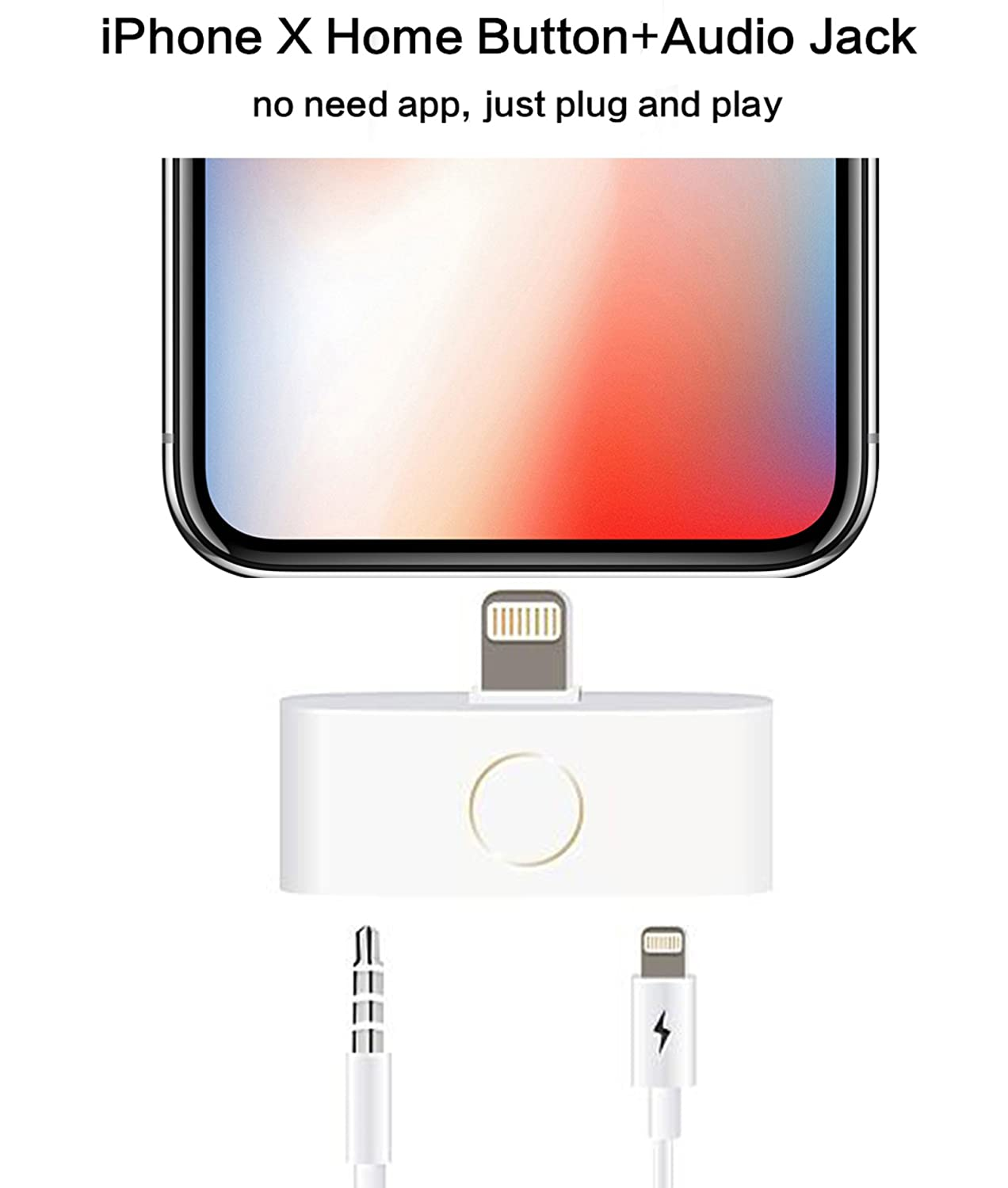 new style b84ed 933a0 MaximalPower iPhone X 8 7 6 5 Home Button and Audio Jack Adapter Support  Listen to Music and Charge at The Same time, No App Required (Home Button)