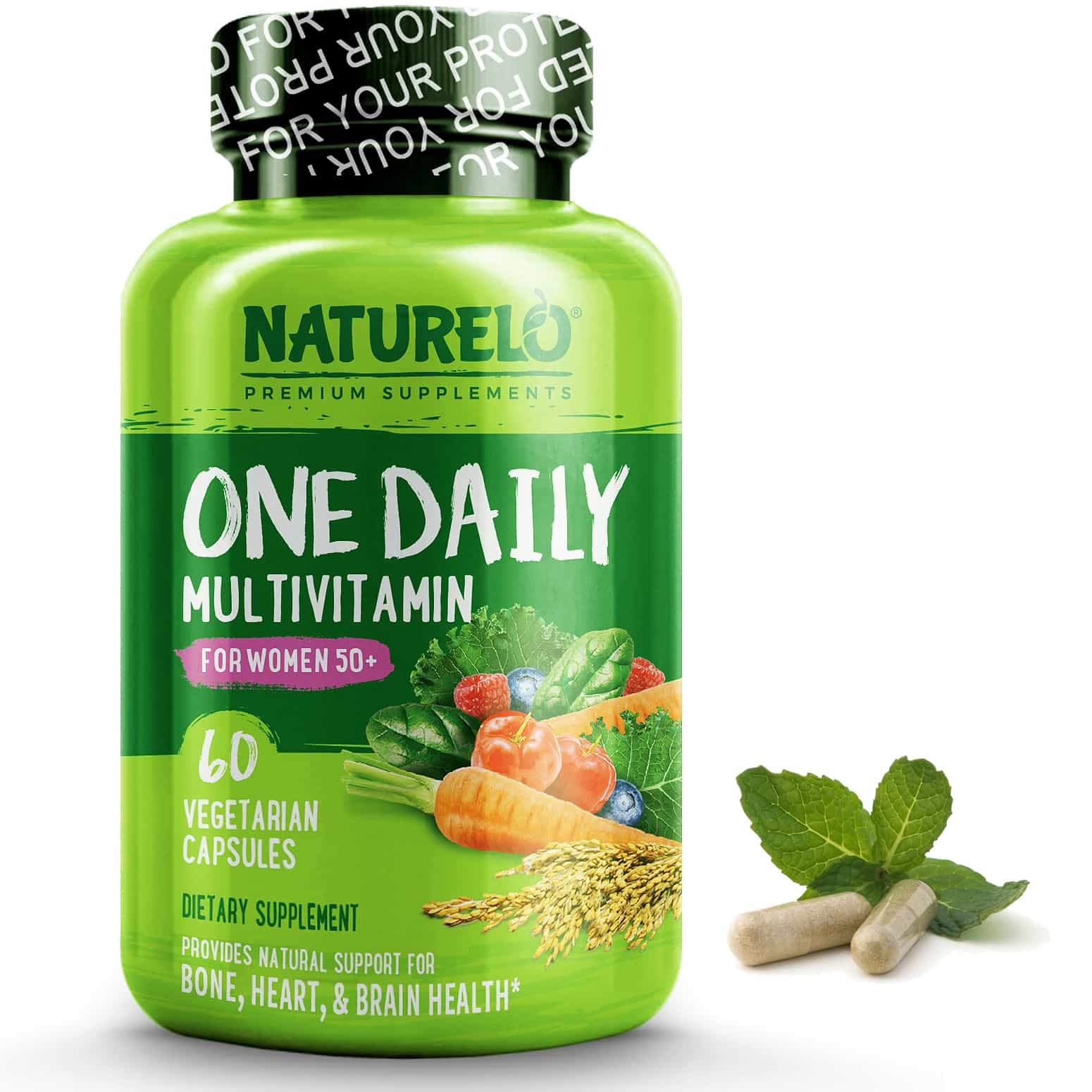 NATURELO One Daily Multivitamin for Women 50+ (Iron Free) - Menopause Support for Women Over 50 - Whole Food Supplement - Non-GMO - No Soy - 60 Capsules | 2 Month Supply