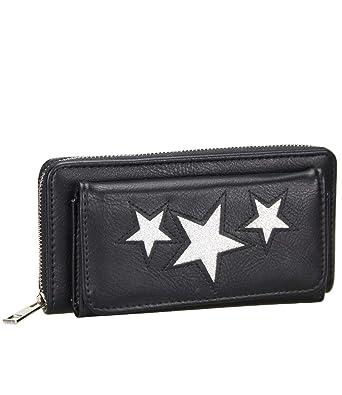 bcbb59dc6b5a2 Caripe Geldbörse Damen groß Glitzer Sterne Vintage Portemonnaie lang  Reißverschluss - skyfl3-28 (4459