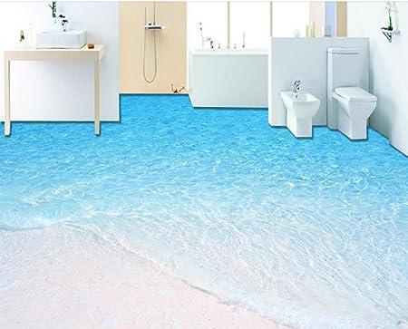 Lqwx Modern 3D Floor Tiles Beach Waves Custom 3D Floor Stickers Waterproof  Self Adhesive Pvc