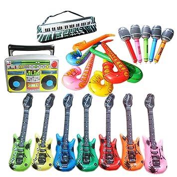 Zorara Accesorios de Música de Saxofón de Micrófono de Guitarra Inflable, Adecuados para Fiestas, Piscina (12 Paquetes)