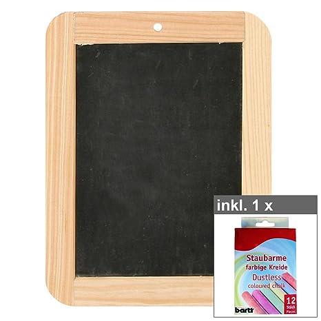 Pizarra de pizarra, aprox. 19 x 14 cm, incluye juego de 12 ...