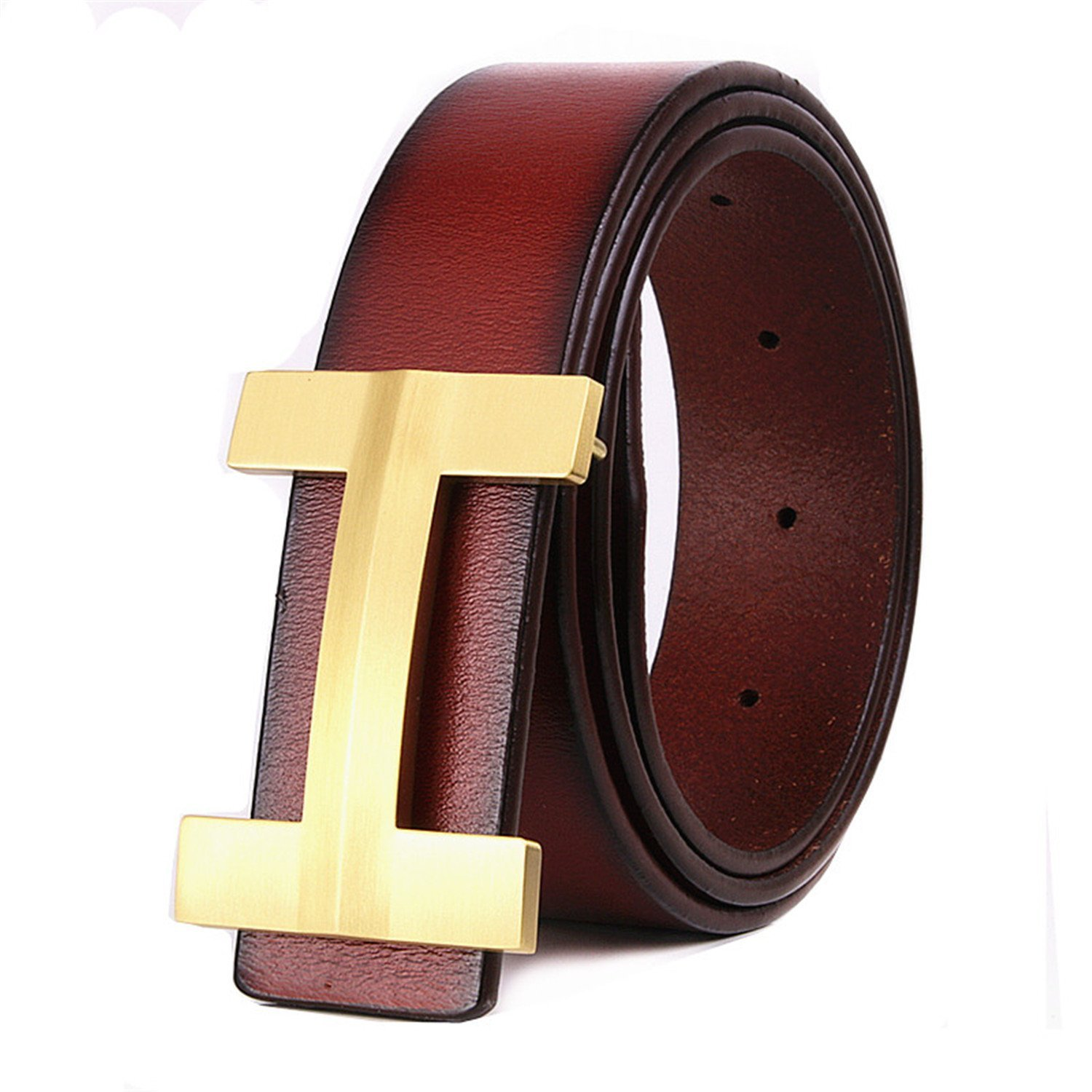 Toping Fine Fashion Men belt solid copper h buckle cowhide leather young male pure belt ceinture h Brown110cm