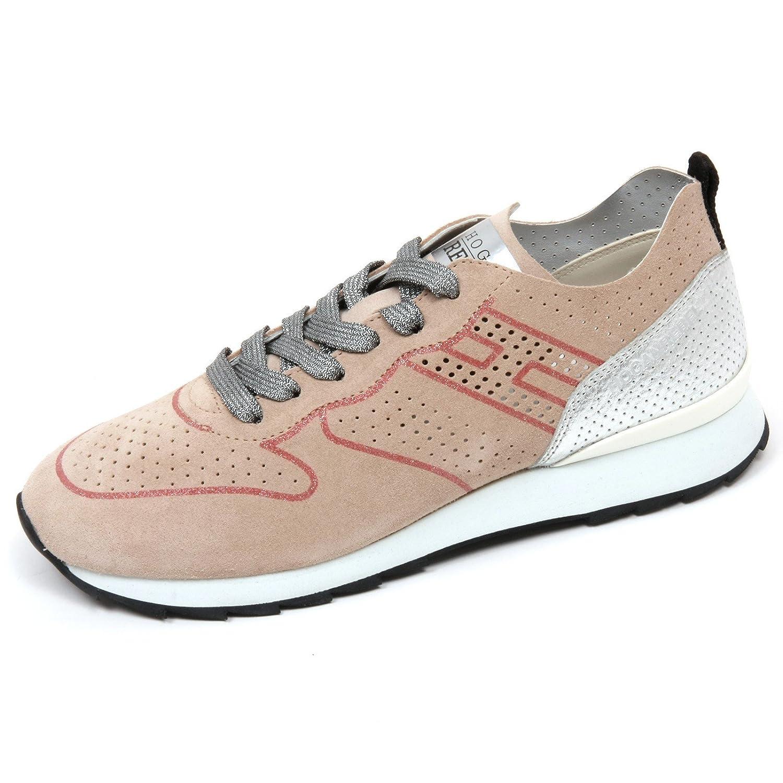 C8416 sneaker donna HOGAN REBEL R261 scarpa beige/argento shoe woman