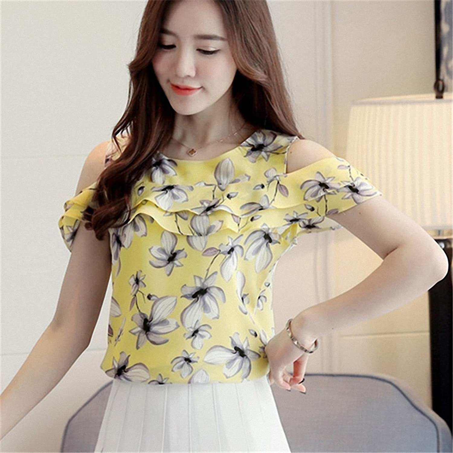 Goexi Womens Blouse Shirts O-Neck Short Butterfly Sleeve Casual Ruffles Chiffon Shirt Floral Print Loose Tops at Amazon Womens Clothing store: