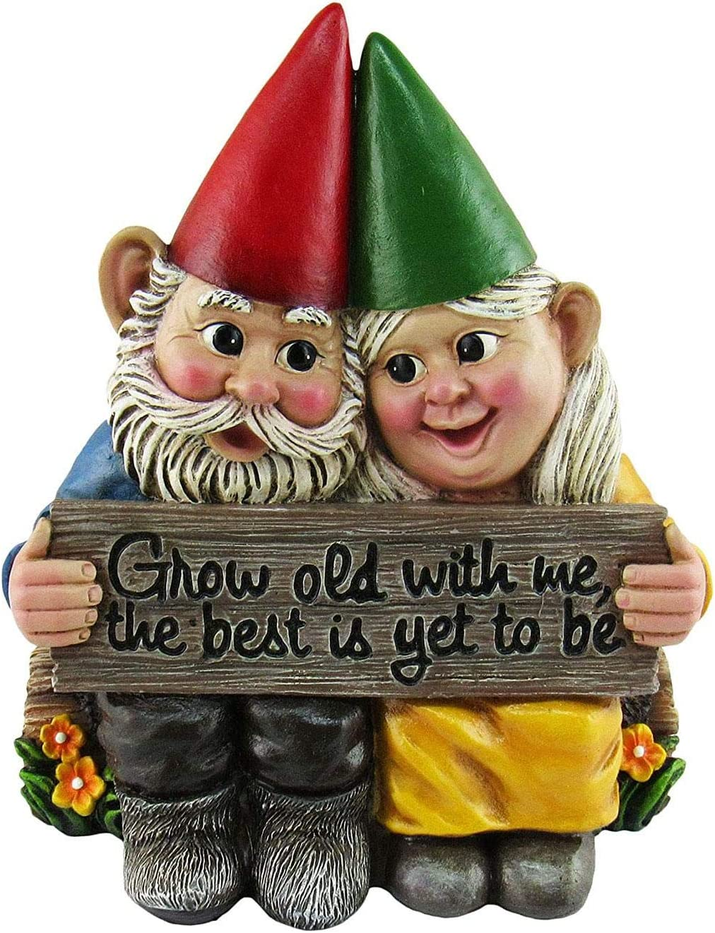 Growing Old Together -Garden Gnome Couple in Love, Garden Statue Wedding Gnomes, Collectible Figurine Friend Lover Romantic Statue, Indoor Outdoor Home Décor Wedding Gift