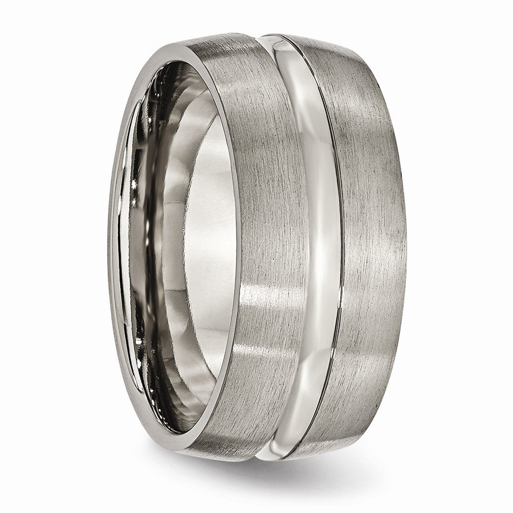 Titanium Grooved 10mm Brushed and Polished Band Size 8.5 Length Width 10
