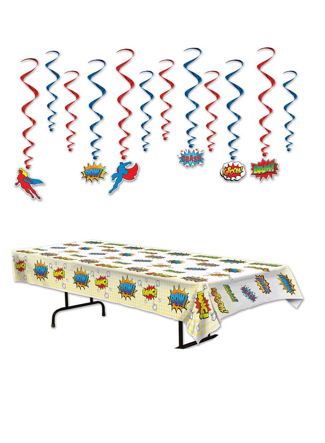 TwiceBooked Superhero Party Decoration Kit - Table Cover and Hanging Whirls