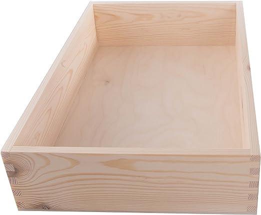 SEARCHBOX Caja Grande de Madera de Abeto, Madera de Pino, Caja de Almacenamiento, sin Pintar, 36 x 23,5 x 7,5 cm: Amazon.es: Hogar