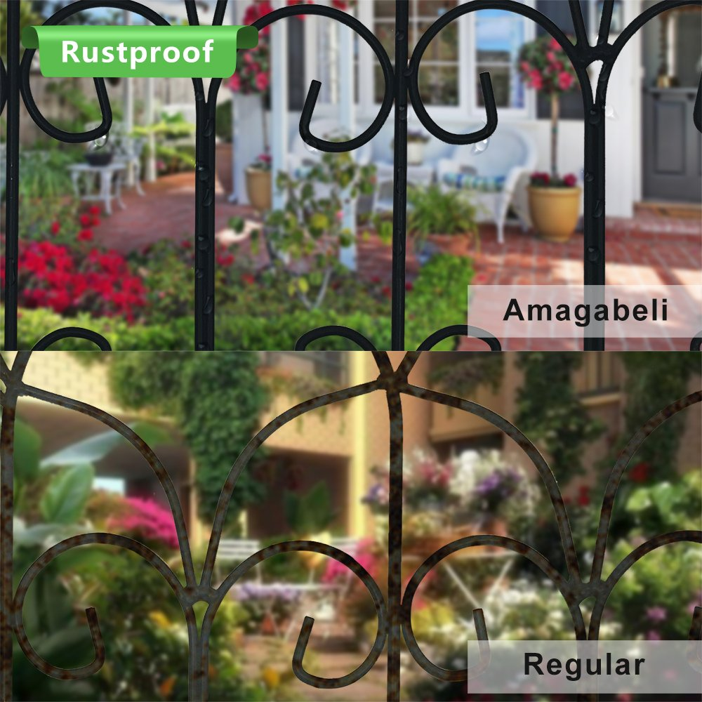 Amagabeli Decorative Garden Fence Coated Metal Outdoor Rustproof 18in x 7.5ft Landscape Wrought Iron Wire Border Fencing Folding Patio Fences Flower Bed Barrier Section Panel Decor Picket Edging Black by AMAGABELI GARDEN & HOME (Image #4)