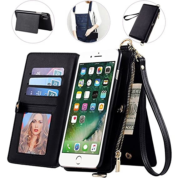 best sneakers bb7a0 f2fee iPhone 7/8 Wallet Case with Crossbody Strap,Auker 2 in 1 Detachable Leather  Zipper Wallet Case with 12 Card Holder&Money Pocket Folio Flip Folding ...