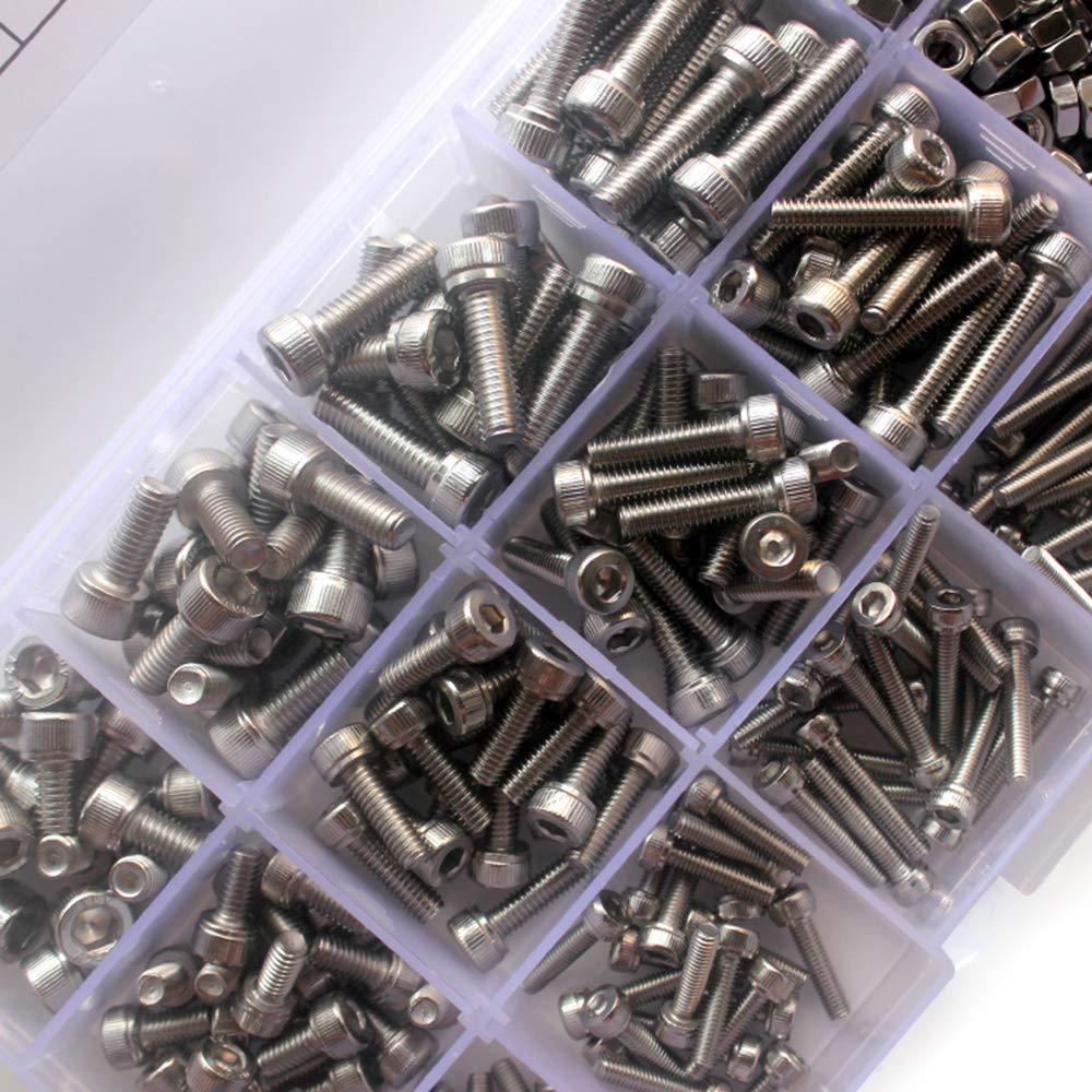Galapara Edelstahlschrauben Innensechskantkopfschraube 440 st/ücke M3 M4 M5 304 Schrauben und Muttern Set Edelstahl Innensechskantschraube