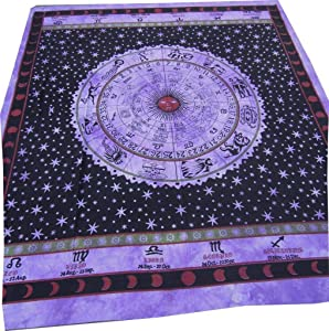"""ICC Zodiac Tapestry Wall Hanging Horoscope Indian Star Astrology Hippie Wall Tapestries Dorm Decor Bohemian Psychedelic Twin Bedding Tapestry 85"""" X 55"""" inches Purple"""