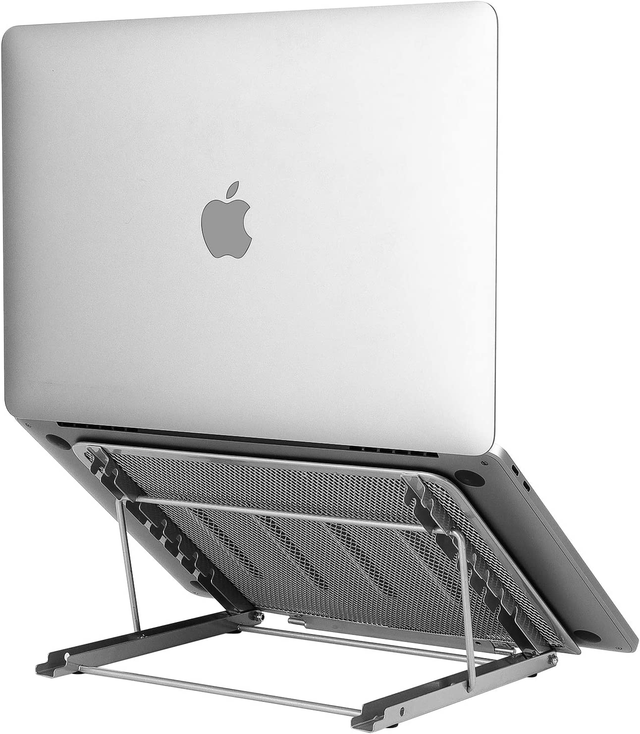 Laptop Stand Upgraded, Adjustable Portable Laptop Holder for Desk, Aluminum Ventilated Notebook Riser for MacBook Air Pro, More 10-15.6 inches PC Computer, Tablet, iPad (Silver)