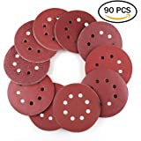 5 Inch 8-Hole Hook and Loop Sanding Discs by LotFancy - 90PCS 40/60/80/100/120/180/240/320/400/800 Grit Assorted Orbital Sander Round Sandpaper