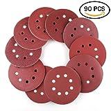 5 Inch 8-Hole Hook and Loop Sanding Discs by LotFancy - 90PCS 40/60/80/100/120/180/240/320/400/800 Grit Assorted Orbital Sander Round Sandpaper