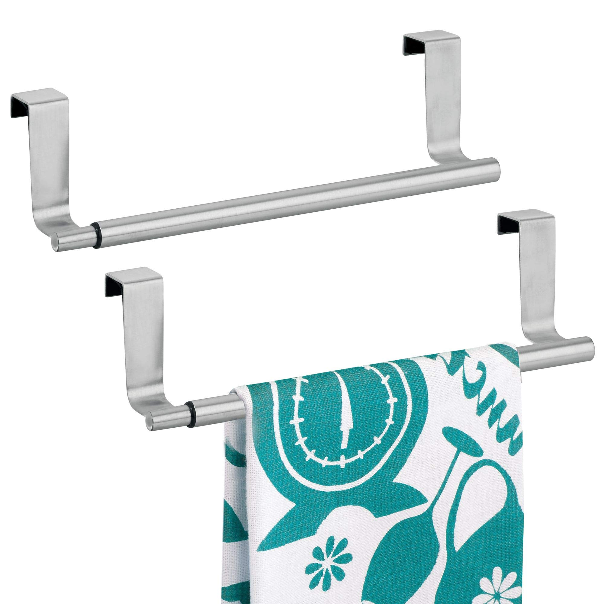 mDesign Decorative Kitchen Over-The-Cabinet Expandable Adjustable Towel Bars Holders organizers for Hanging Drying Hand, Dish, Tea Towels - set of 2, Brushed Stainless Steel