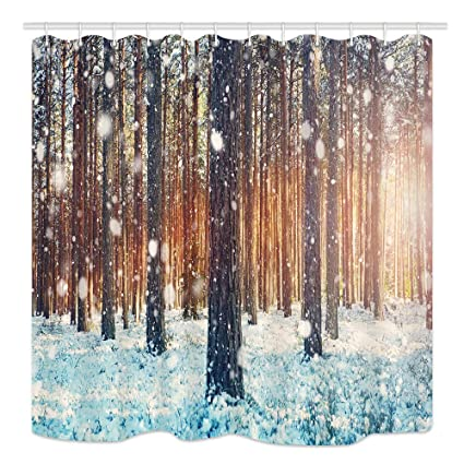 NYMB Winter Forest Shower Curtain Pine Trees Covered With Snow On Frosty Evening Mildew