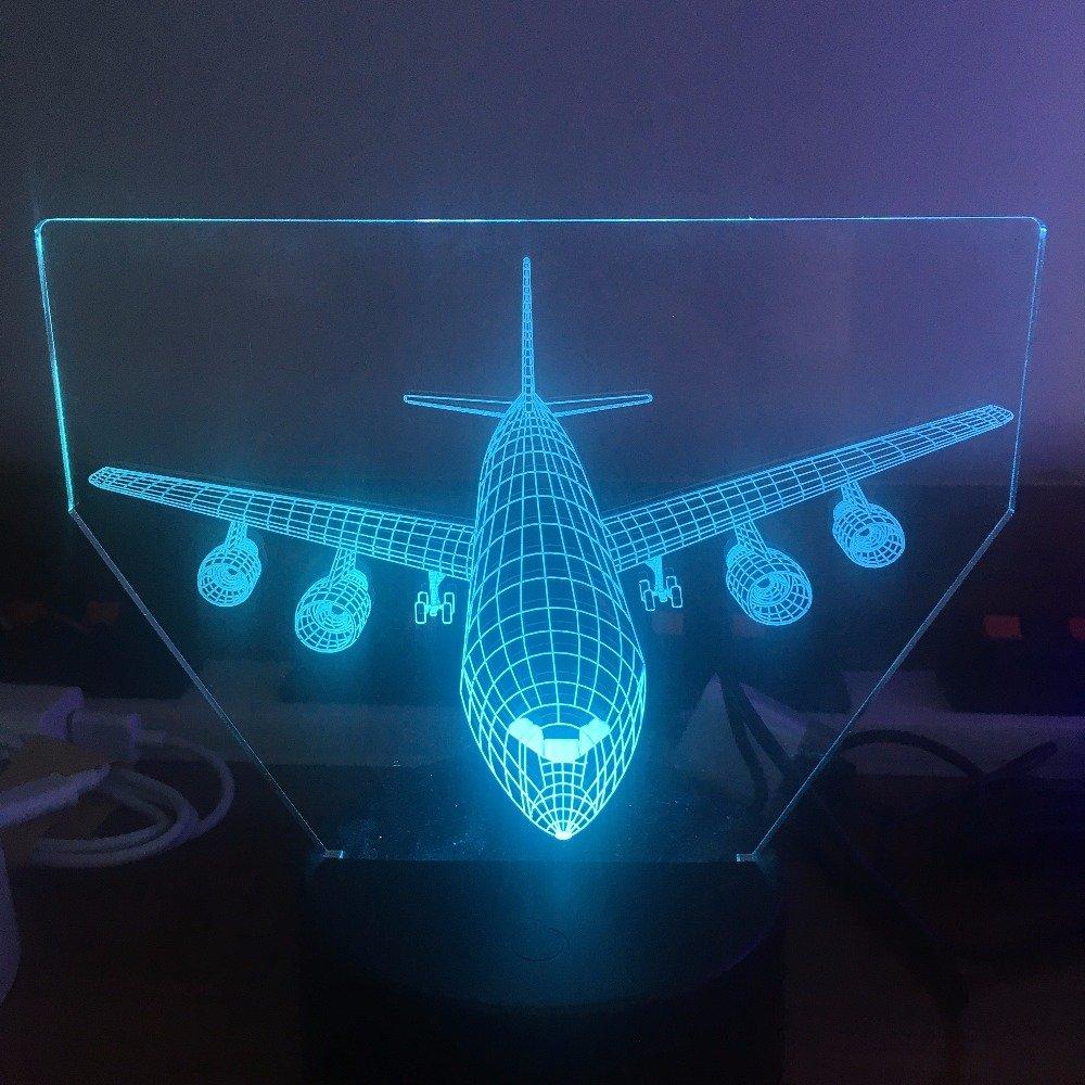 Air plane 3dライトLEDテーブルランプOptical Illusionホログラムナイトライト7色変更ムードランプタッチUSBランプ B07BBRXCTJ 19920