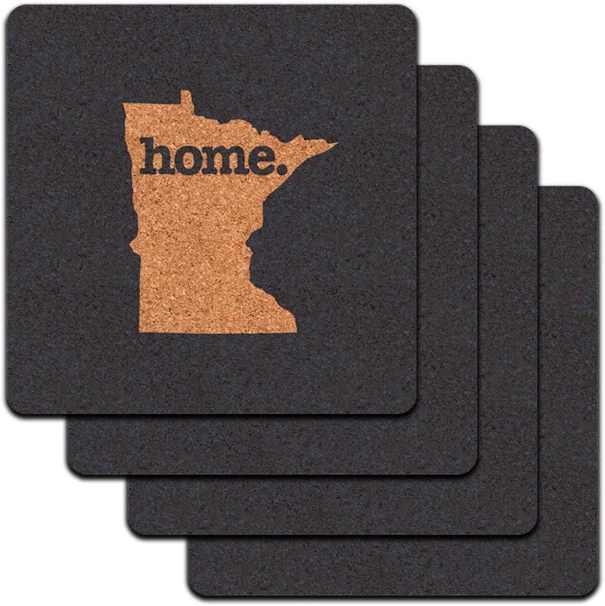 Minnesota MN Home State Low Profile Cork Coaster Set - Solid Navy Blue