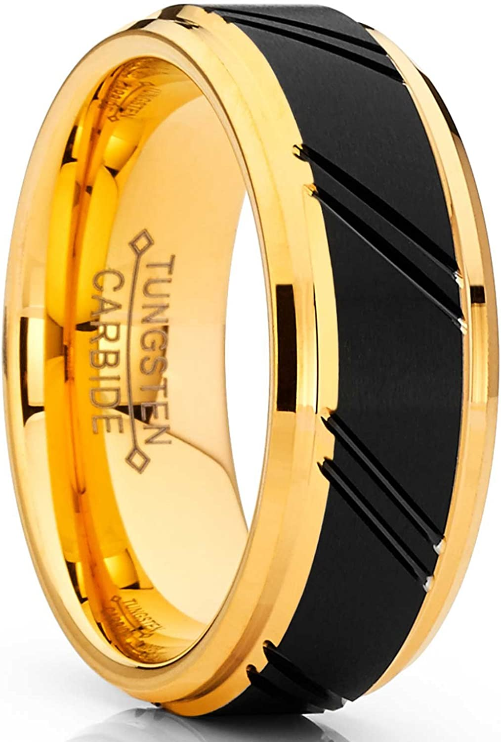 Metal Masters Co. Men's Duo Tungsten Carbide Wedding Band Black and Gold Tone Ring Comfort Fit 8mm
