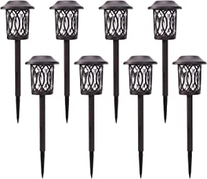 HECARIM Solar Lights Outdoor, 8 Pack Solar Pathway Lights, Solar Powered Garden Lights, Waterproof LED Solar Landscape Lights for Walkway, Pathway, Lawn, Yard and Driveway … (Pattern C)