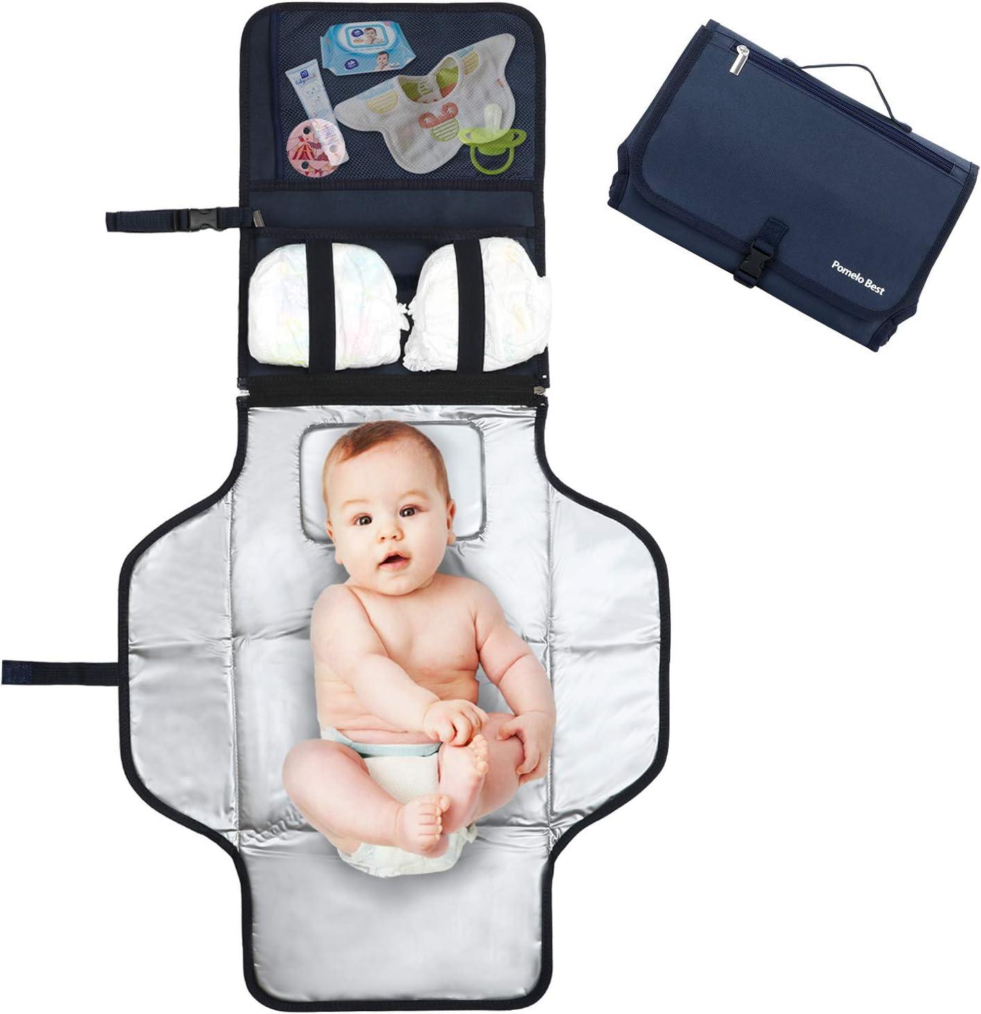 Pomelo best Cambiador portatil de pañales para bebe Impermeable   Kit Cambiador Bebe Viaje   Esterilla Lavable de Quita y Pon   Perfecto para Usar Fuera de Casa (Azul)