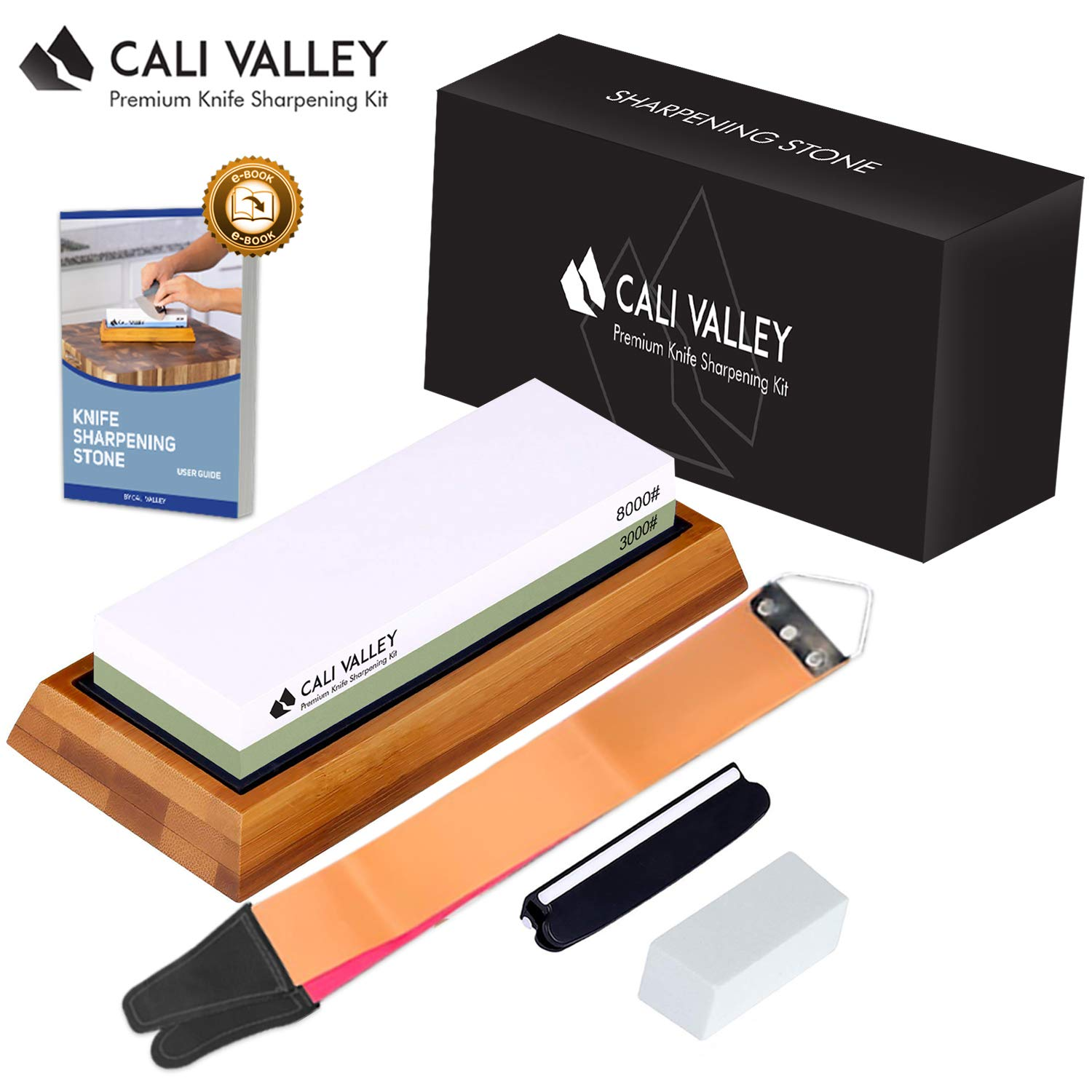 Cali Valley Whetstone 3000 8000 - Premium Professional Knife Sharpening Stone - Best Knife Sharpening Kit with Angle Guide, Flattening Stone & Leather Strop